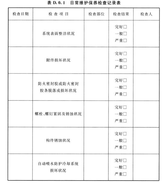 表D.0.1 日常维护保养检查记录表