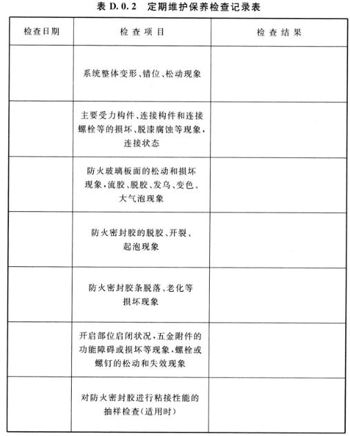 表D.0.2 定期维护保养检查记录表